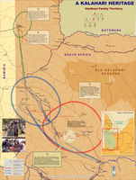 This map shows the Vaalbooi family territories in Northern Cape, South Africa. It includes a family tree and photographs of family members as well as personal anecdotes and notes relating to how and why the family moved. [Scale included]