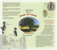 "This poster outlines the cultural and natural heritage of the San people. It explores the cultural and symbolic value of the Shepherd's Bush tree as ""The Tree of Love"". The poster includes photographs of Shepherd's Bush tree as well as San people."