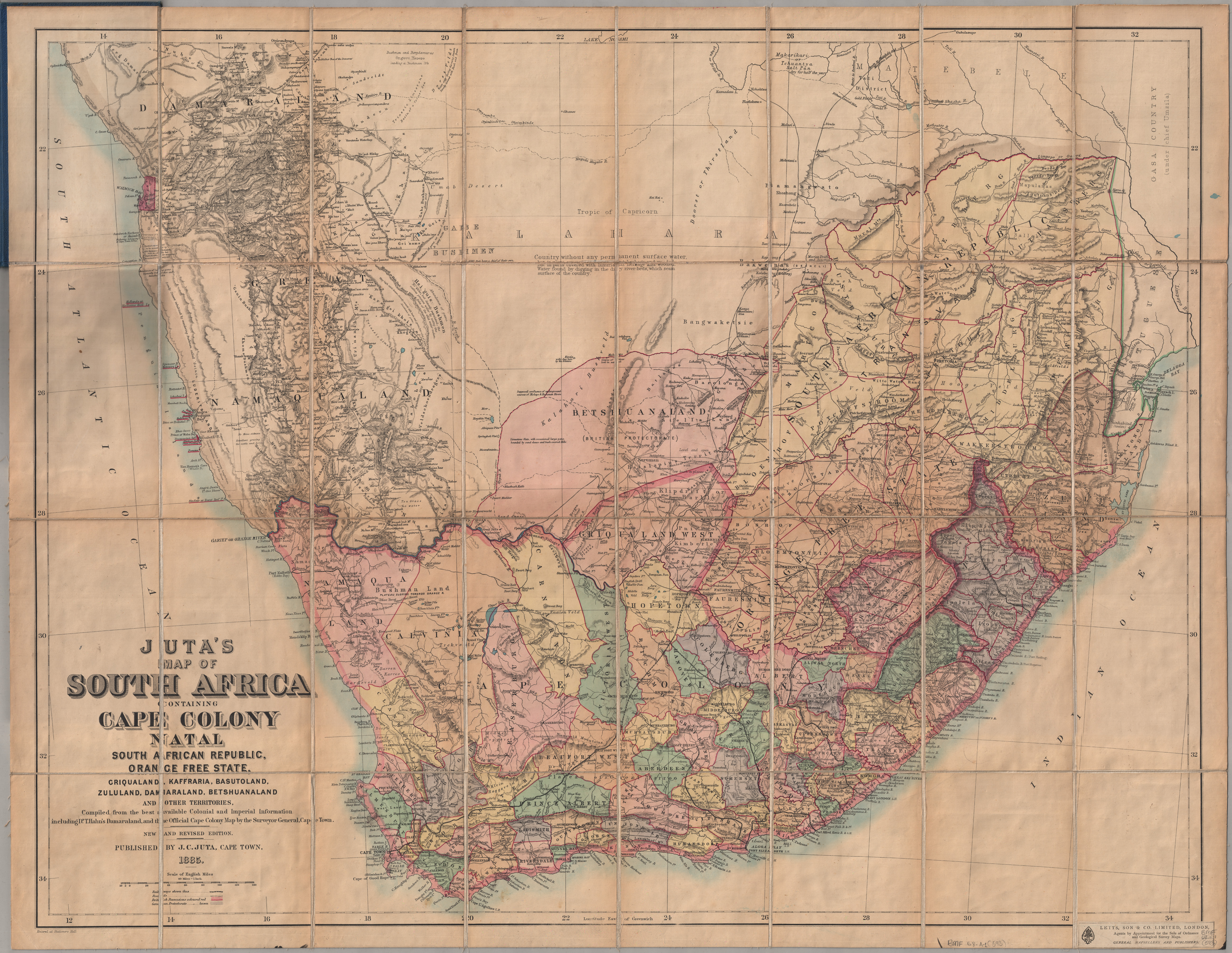 Jutas map of South Africa containing Cape Colony Natal South