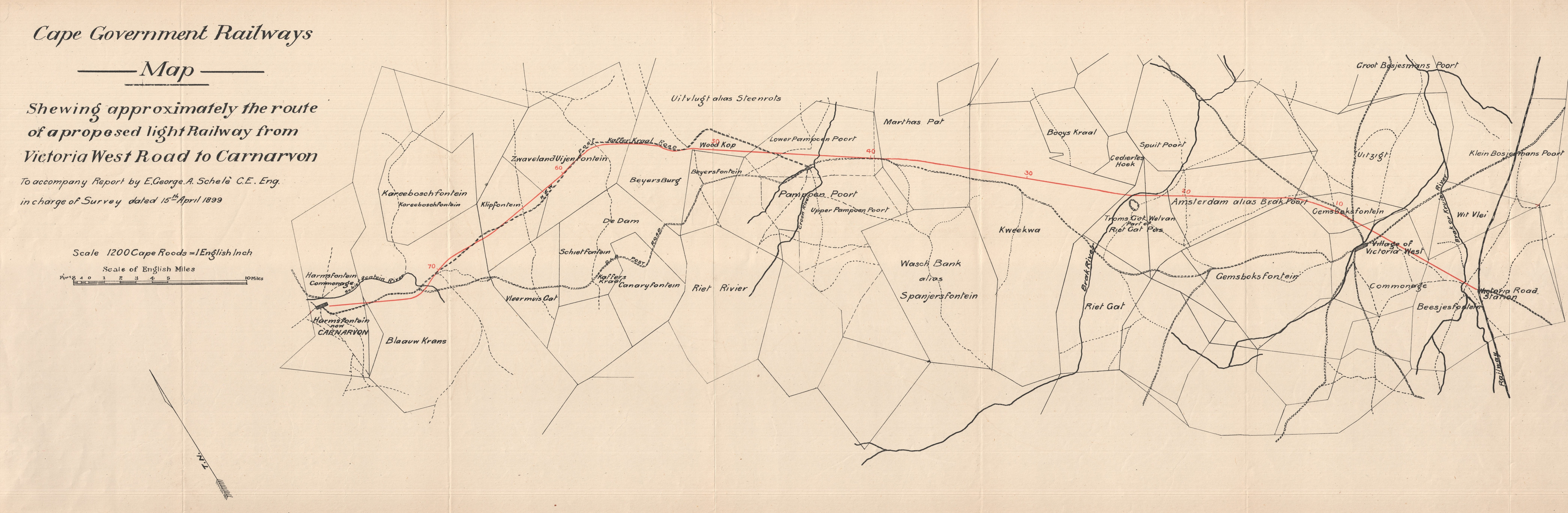 Cape Government Railways map shewing approximately the route of a