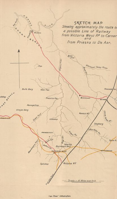 Sketch map shewing approximately the route of a possible line of