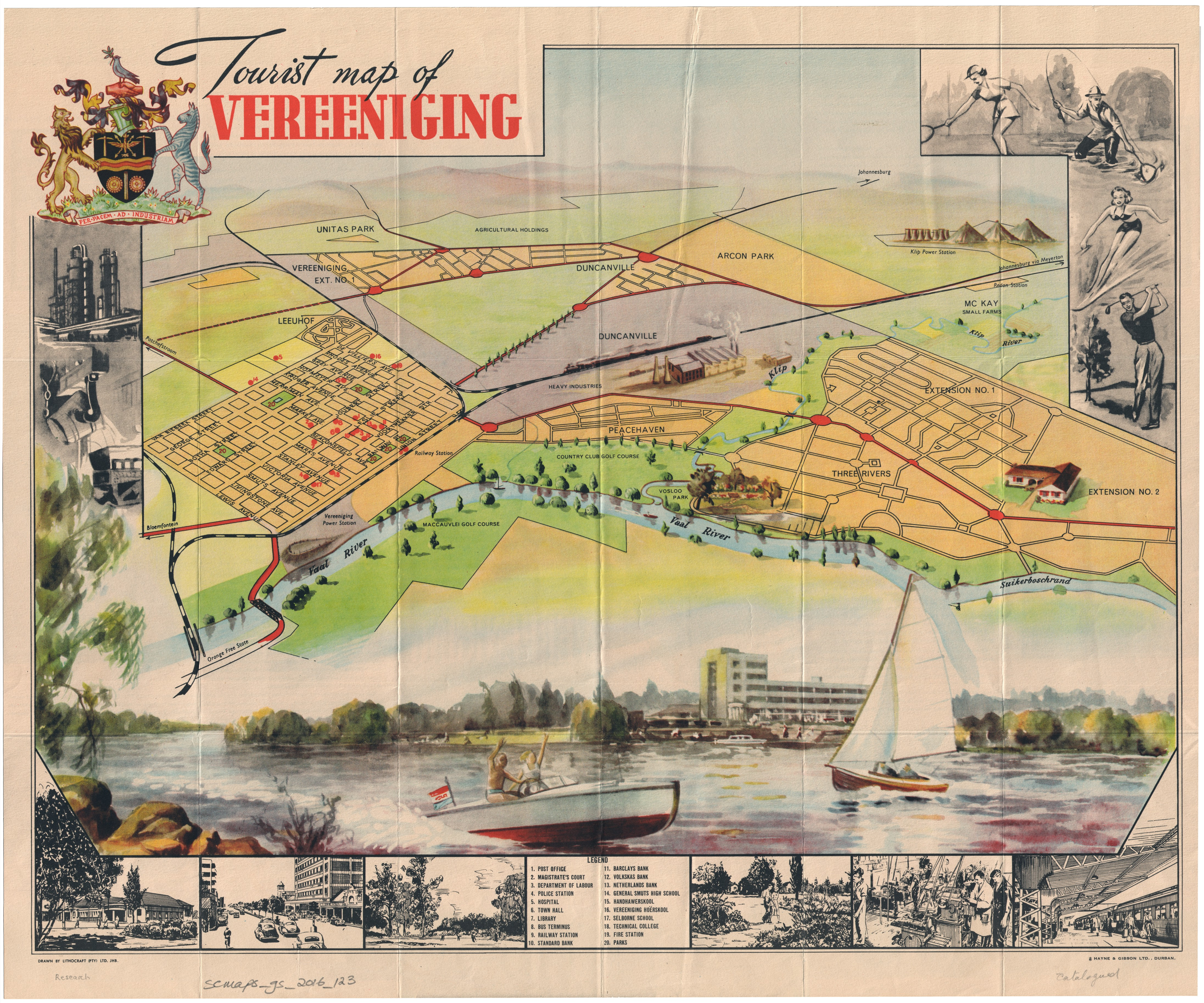 Tourist map of Vereeniging UCT Libraries Digital Collections