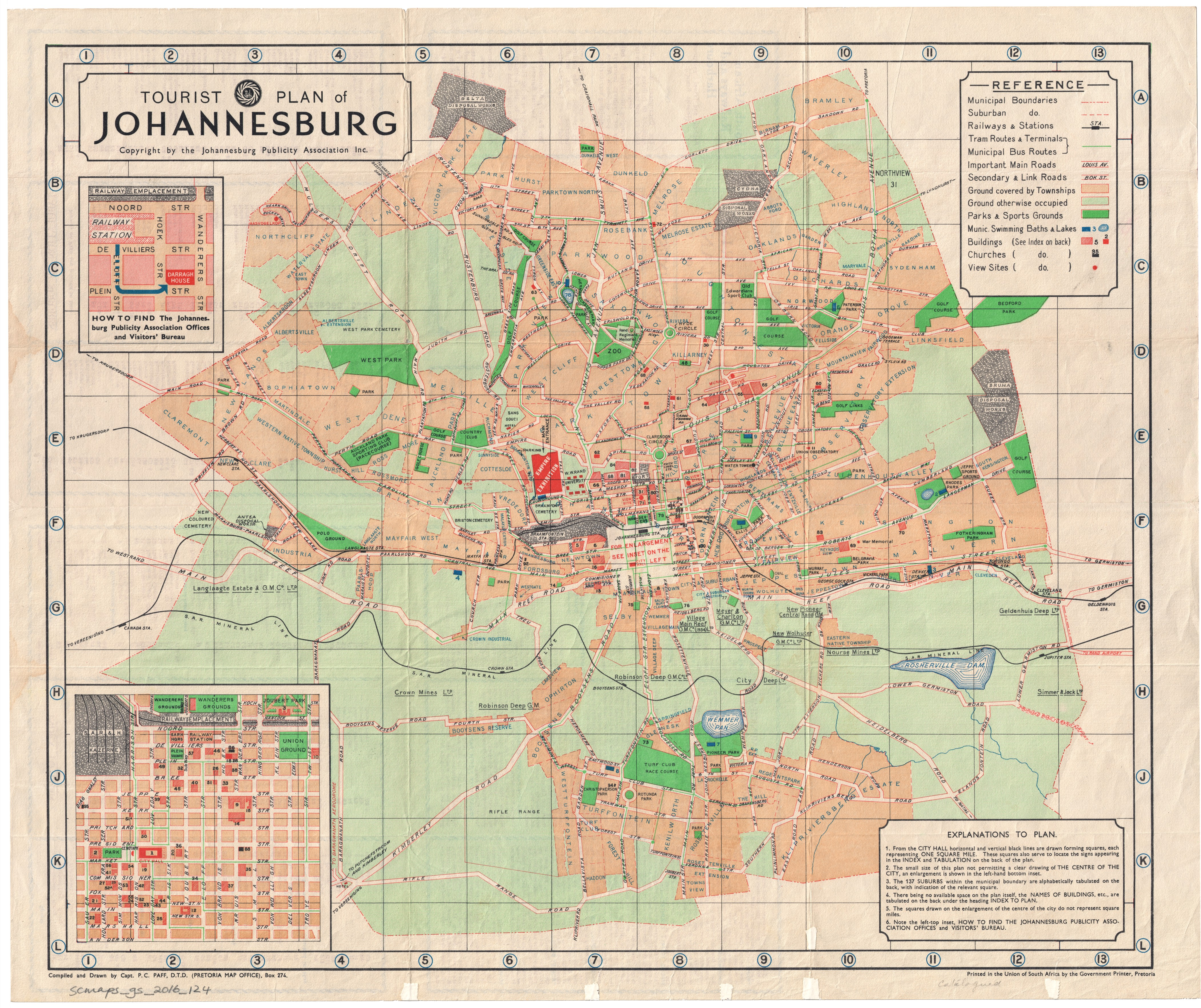 Tourist plan of Johannesburg UCT Libraries Digital Collections