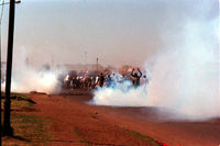 Teargas at ANC funeral, South Africa, 1990