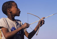 Playing with bow and arrow