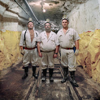Three mine workers, Number 4 Shaft, Rustenburg, South Africa