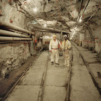 Two mine workers, Bafokeng Rasimone Mine, Rustenburg, South Africa