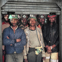 Miners waiting in the cage, Tautona Mine, Carletonville, South Africa