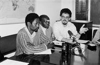 Press conference, Johannesburg, 1990