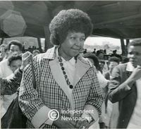 Winnie Mandela outside the hospital surrounded by well-wishers, Cape Town