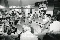 Winnie Mandela, her daughter and grandchildren with their lawyer at a press conference, Cape Town