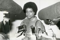 Winnie Mandela speaks to the media after visiting her husband in prison , Cape Town