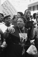 Female protest, Johannesburg, 1990