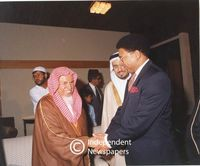 Sheikh Mohammed Abdullah shakes hands with Dr. Allan Boesak, Cape Town