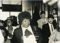 Winnie Mandela leaves the airport, Cape Town
