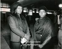 Winnie Mandela and Mrs Dalimdyevo Sabata at the airport, Cape Town