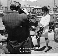 Winnie Mandela at the docks in the Waterfront on her way to Robben Island , Cape Town