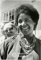 Winnie Mandela outside the hospital after seeing her husband, Nelson Mandela, Cape Town