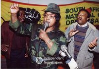 Winnie Mandela speaks at an ANC [African National Congress} rally, Cape Town