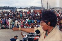 Winnie Mandela speaking to supporters at a rally, Cape Town