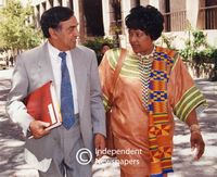 Winnie Mandela speaks to Omar Dullah, Cape Town