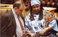 Winnie Mandela speaks with Ronnie Kasrils in Parliament, Cape Town