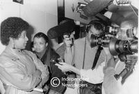 Winnie Mandela speaks to the media after visiting her husband in jail, Cape Town