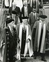Nelson Mandela with other academics after receiving an honorary doctorate, Cape Town