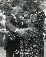 Nelson Mandela hugs a supporter, Cape Town
