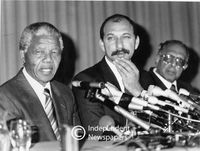 Nelson Mandela and Trevor Manuel at a press conference, Cape Town