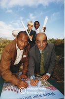 Chester Williams and Professor Kader Asmal at the water wise demonstration at Kirstenbosch, Cape Town