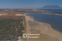 Aerial view of Milnerton's Rietvlei wetland, Cape Town