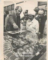Members of the Committee of the Coloured Representative Council (CRC) look at architect models of houses that are for sale, Cape Town