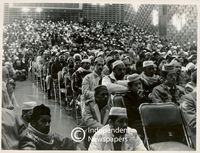 People listen to speech given by Ahmed Deedat, Cape Town