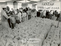 Food packages being handed out, Cape Town
