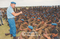 Training officer talks to his students, Cape Town