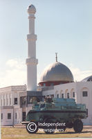 Army truck in front of Mosque, Cape Town