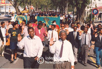 PAC supporters salute at a protest, Cape Town