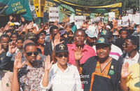 PAC supporters salute at a rally, Cape Town