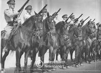 Soldiers at attention on top of their horses, Cape Town