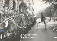 Soldiers mounted on their horses stand to attention, Cape Town