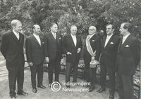A Group of Ministers stand in the gardens of Tuynhuys, Cape Town