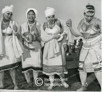 Fingo dancers at Langa, Cape Town