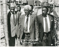 Political leaders at the Robben Island disembarkation point,Cape Town