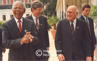 Nelson Mandela shares a joke with F.W. De Klerk, Cape Town