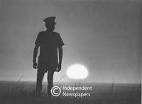 Silhouette of prison guard, Cape Town