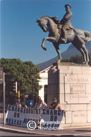Robert McBride supporters in front of Lovis Botha monument, Cape Town