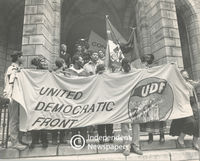 UDF Supporters hold a banner, Cape Town