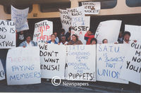 People protest the actions of (South African Typographical Union (S.A.T.U), Cape Town