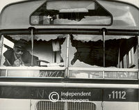 Driver inspects the damage done to his bus, Cape Town